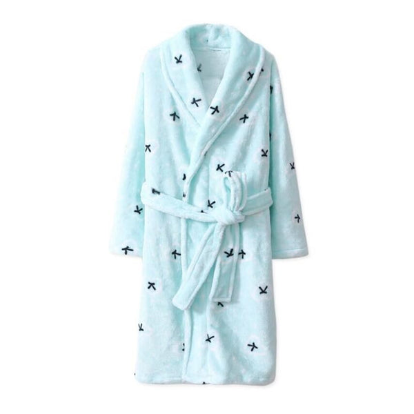 Long Flannel Blue Bathrobe - Kids Dressing Gown - Just Kidding Store