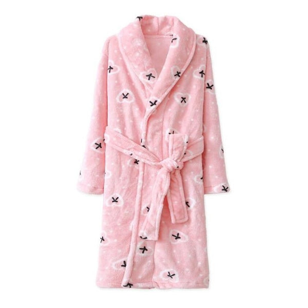Long Flannel Pink Bathrobe - Kids Dressing Gown - Just Kidding Store