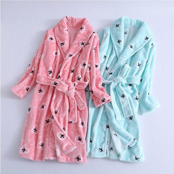 Long Flannel Bathrobe - Kids Dressing Gown - Just Kidding Store