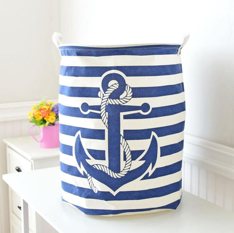 Navy Anchor Storage Basket Hamper Laundry Tube - Just Kidding Store