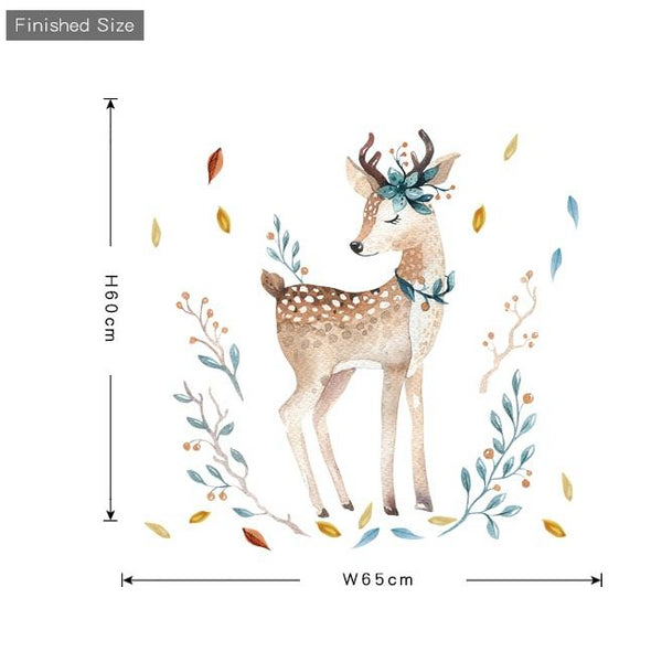 Watercolor Fawn Wall Sticker - Deer Wall Decal - Just Kidding Store