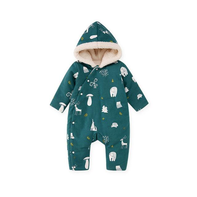 Winter Sherpa Thick Baby Kids Romper - Green Red - Just Kidding Store