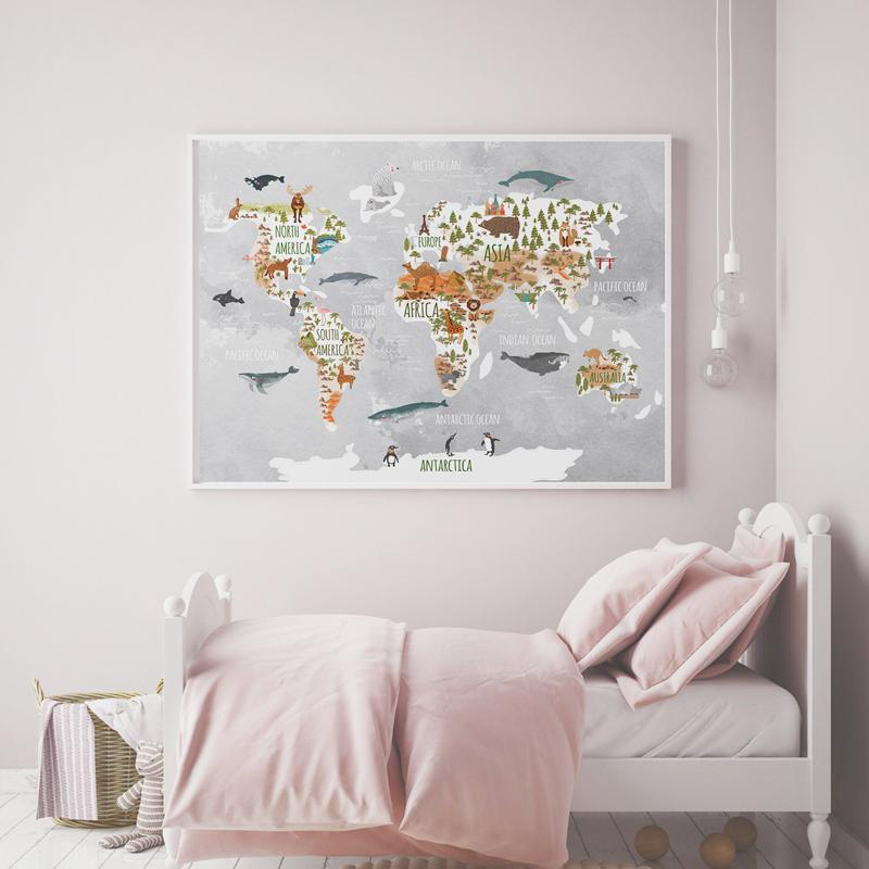 Kids World Map With Animals Canvas Wall Art - Just Kidding Store