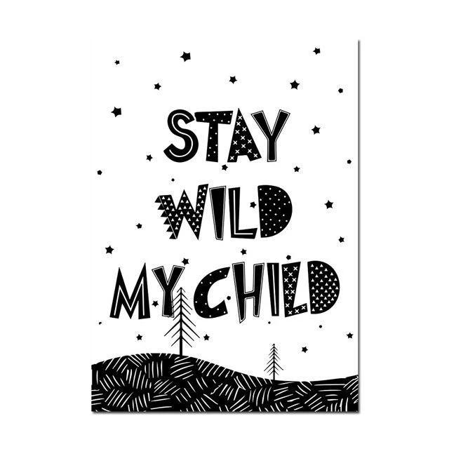 Adventure Inspiring Nordic Kids Monochrome Canvas Wall Art - Just Kidding Store