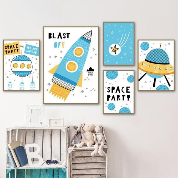 Nordic Style Kids Posters  Space Series Wall Art - Just Kidding Store