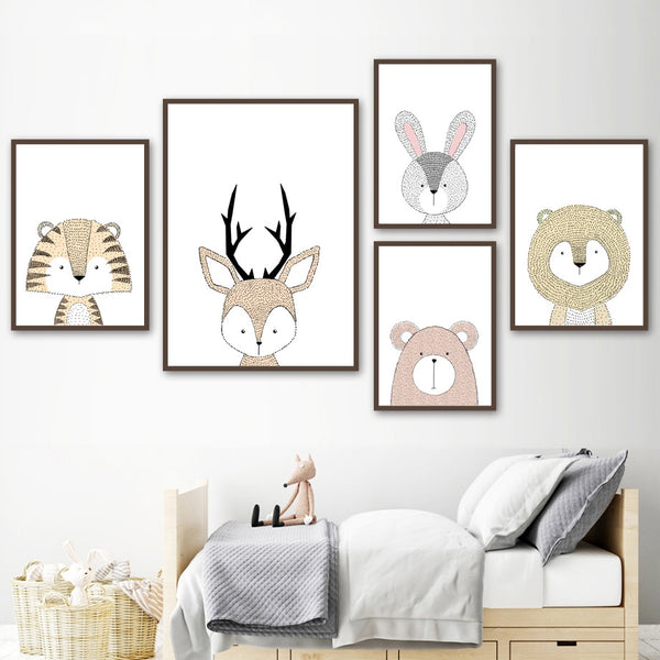 Canvas Wall Art - Lion, Deer, Fox, Owl, Bear, Rabbit, Tiger