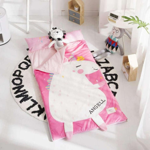 Kids Sleeping Bag With Pillow - Pink Unicorn Sleeping Envelope Just Kidding Store