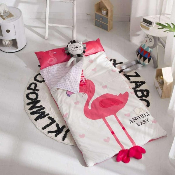 Kids Sleeping Bag With Pillow - Flamingo Sleeping Envelope Just Kidding Store