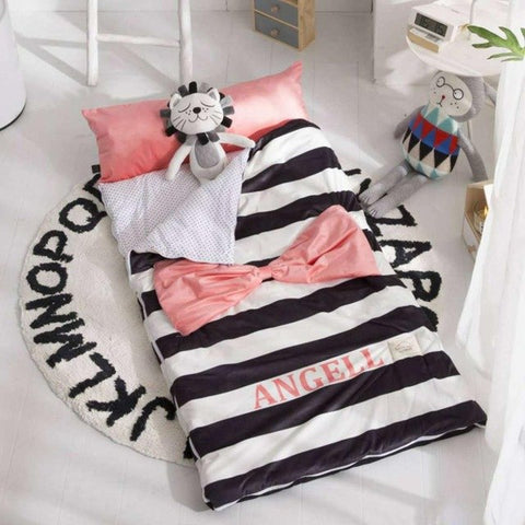 Kids Sleeping Bag With Pillow Pink Bow-Knot Sleeping Envelope Just Kidding Store