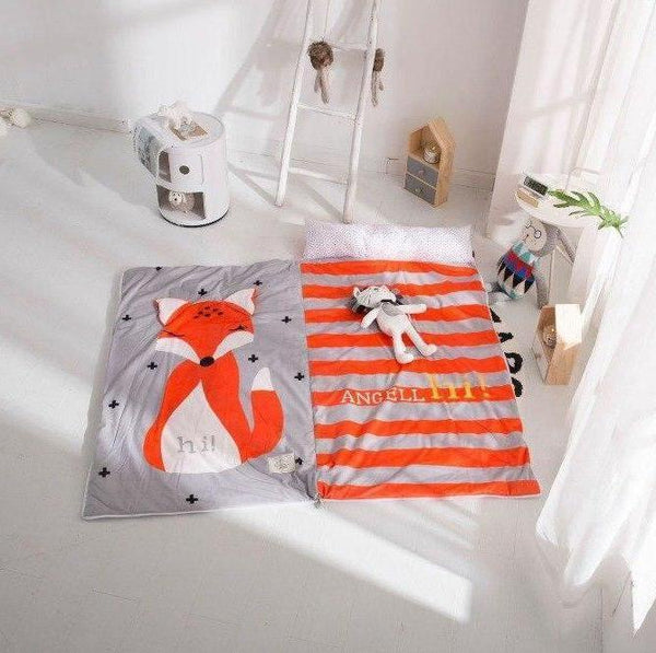 Kids Sleeping Bag With Pillow Red Fox Sleeping Envelope Just Kidding Store