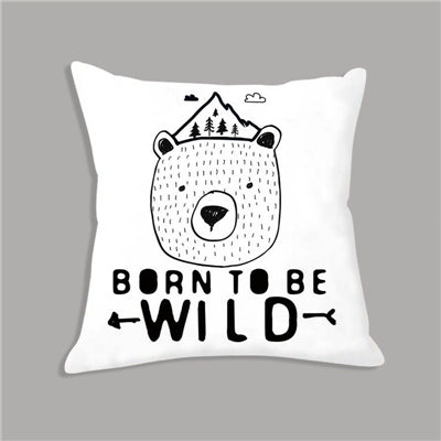 Born To Be Wild Bear Nordic Kids Cushion Covers - Just Kidding Store