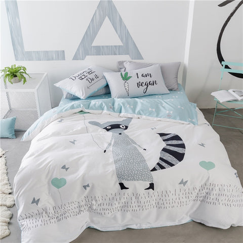 Gray Fox Bedding Set - Kids Nordic Bedding Set - Just Kidding Store