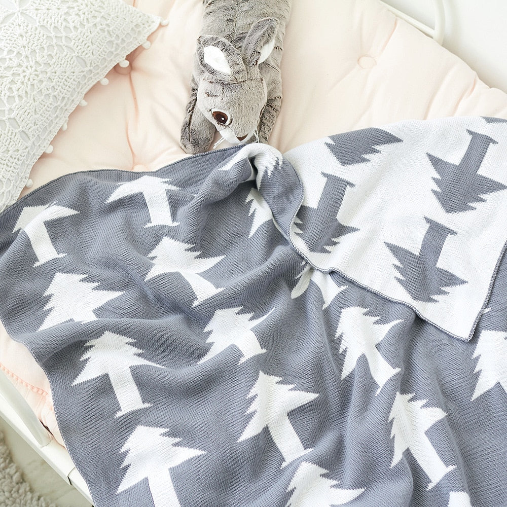 Grey Pine Trees Double Layer Kids Cotton Blanket - Just Kidding Store