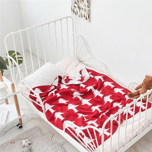 Red Pine Trees Double Layer Kids Cotton Blanket - Just Kidding Store