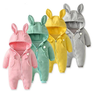 Bunny Rabbit Baby Kids Hooded Winter Romper - Just Kidding Store