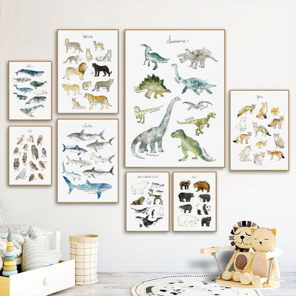 Watercolor Animals, Birds And Mammals Canvas Painting Just Kidding Store