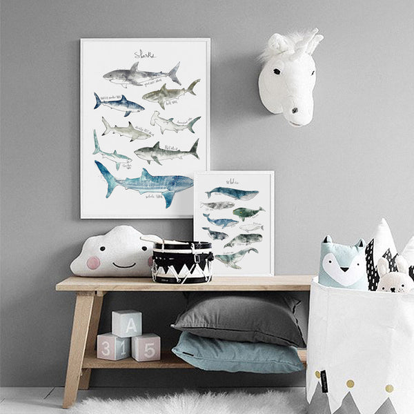 Watercolor Sharks And Whales Canvas Painting Just Kidding Store