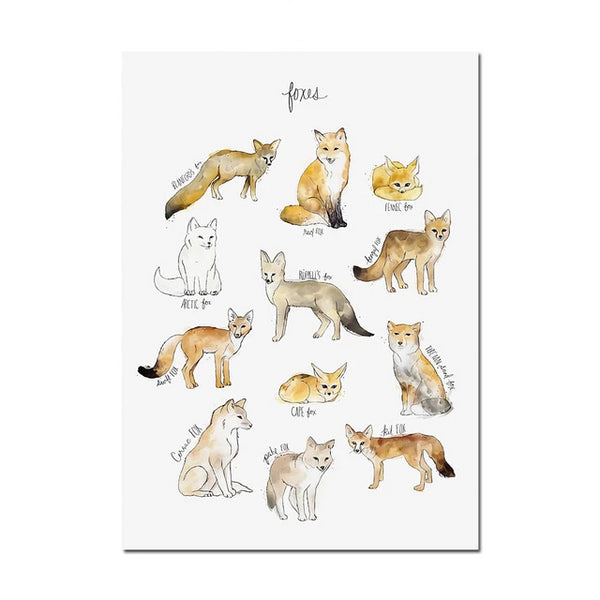Watercolor Foxes Canvas Painting Just Kidding Store