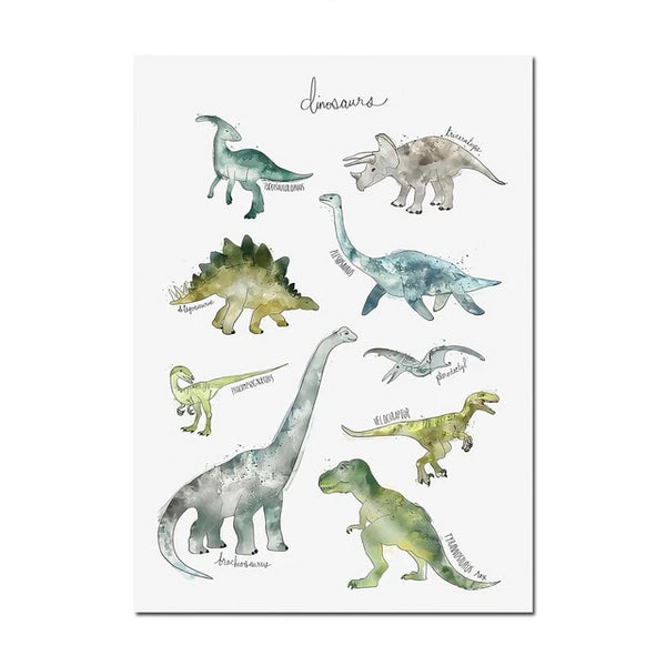 Watercolor Dinosaurs Canvas Painting Just Kidding Store