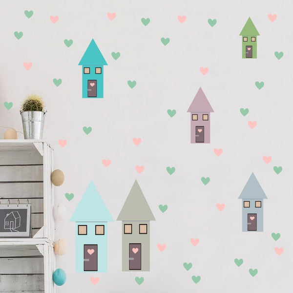 Sweet Houses Wall Decal Kids Wall Vinyl Stickers - Just Kidding Store