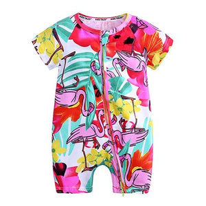 Pink Flamingo Baby Toddler Summer Trendy Romper - Just Kidding Store