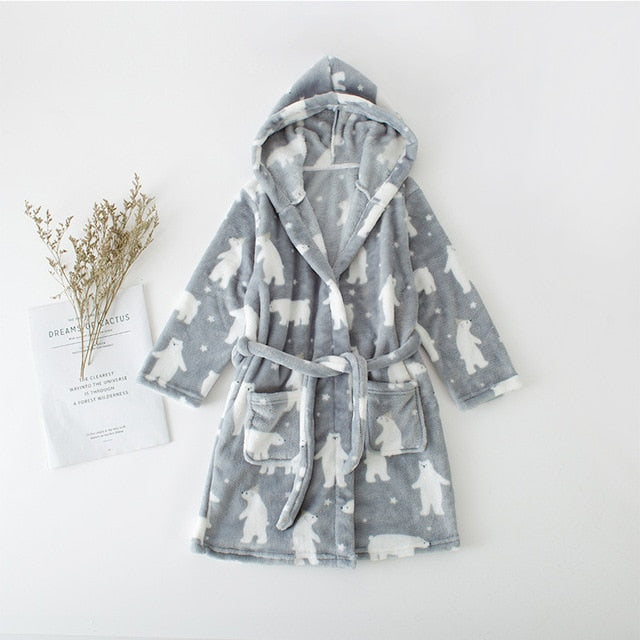 Silver Bear Baby Kids Flannel Fleece Hooded Robe - Just Kidding Store