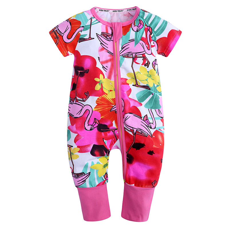 Pink Flamingo Baby Toddler Kids Summer Romper - Just Kidding Store