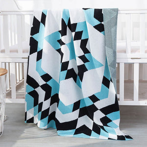 2 Layers Nordic Cotton Knit Kids Blanket Abstract - Just Kidding Store