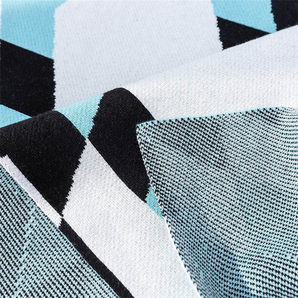 2 Layers Nordic Cotton Knit Blanket - Abstract