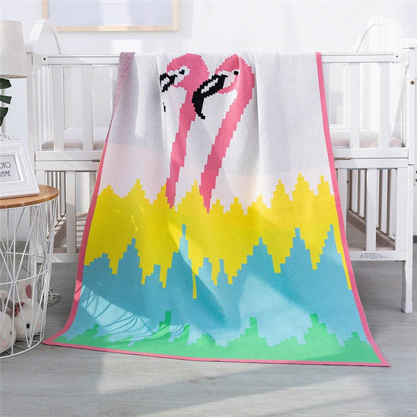 2 Layers Cotton Knit Kids Blanket Pink Flamingos - Just Kidding Store