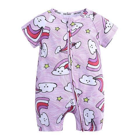 Rainbow Cloud Baby Toddler Kids Summer Romper - Just Kidding Store