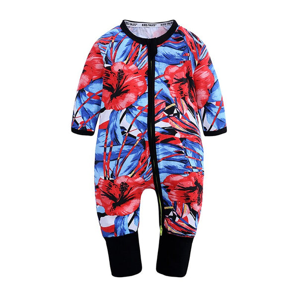 Red Hibiscus Baby Toddler Kids Trendy Romper - Just Kidding Store