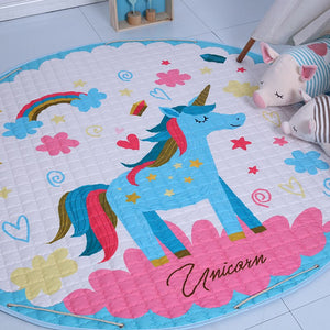 Activity Play Mat Baby Kids Toy Storage Bag Blue Unicorn - Just Kidding Store