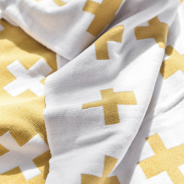 Yellow Cross Kids Double Sided Nordic Cotton Blanket - Just Kidding Store