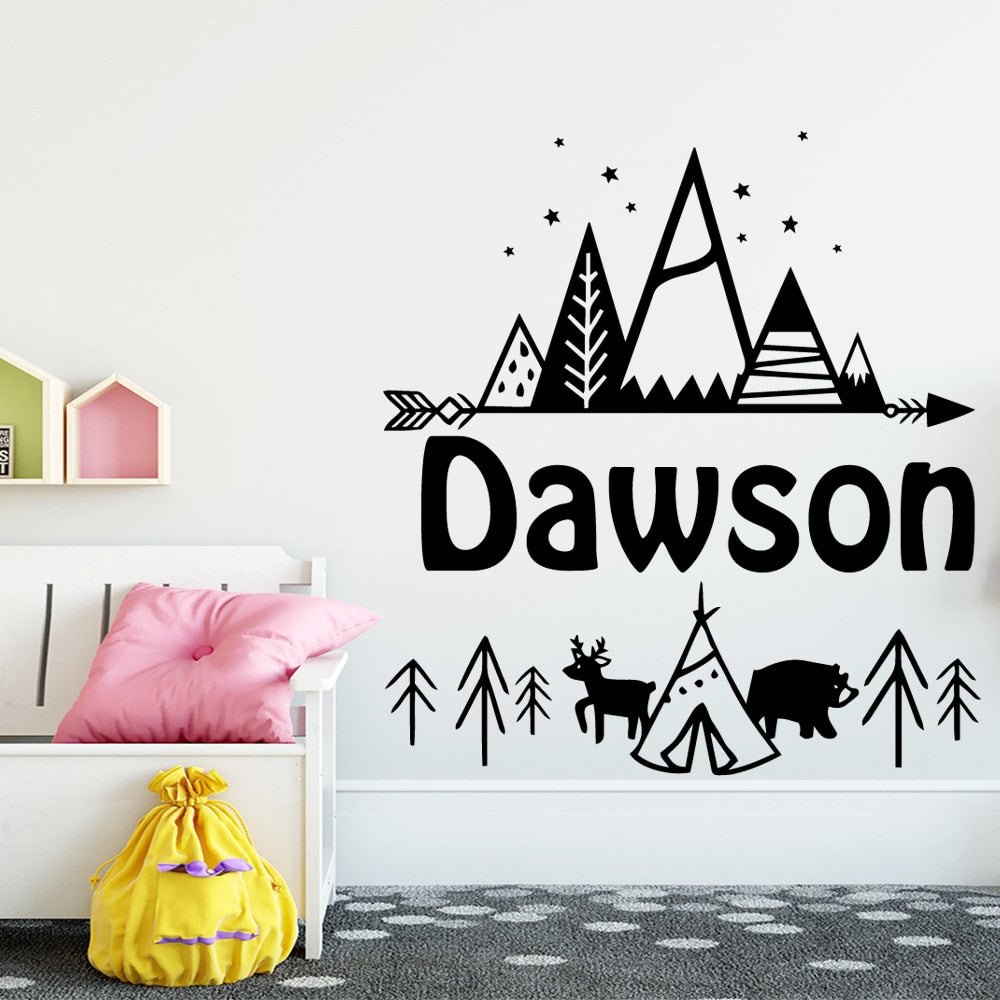 Nordic Style Personalised Tribal Mountain Vinyl Wall Sticker - Just Kidding Store
