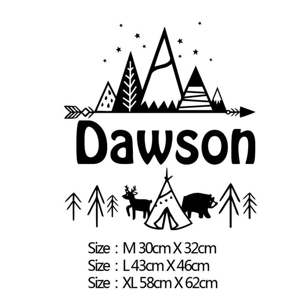 Nordic Style Personalised Tribal Mountain Vinyl Wall Sticker