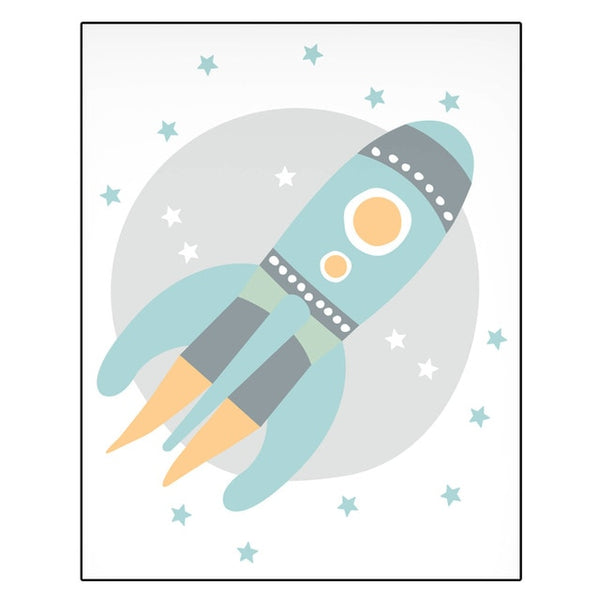Nordic Style Kids Canvas Posters - Astronaut, Space Rocket, Dream Big