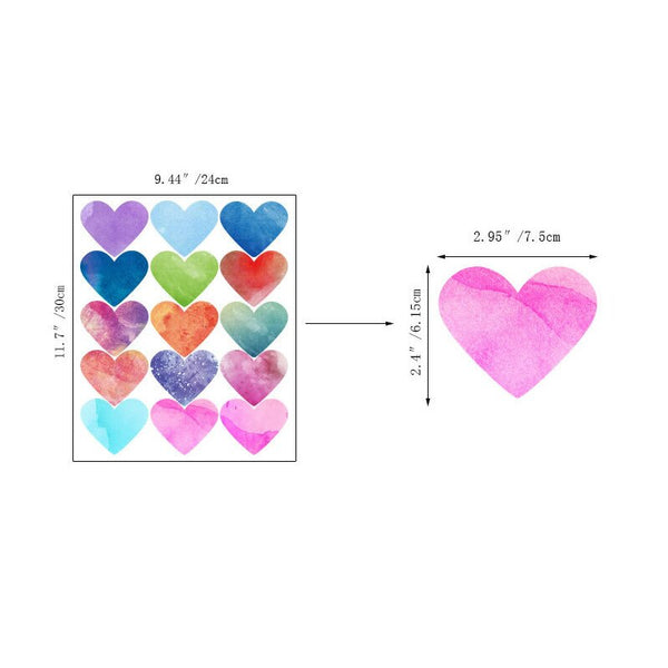 Watercolor Hearts Wall Decal Colorful Wall Stickers Just Kidding Store