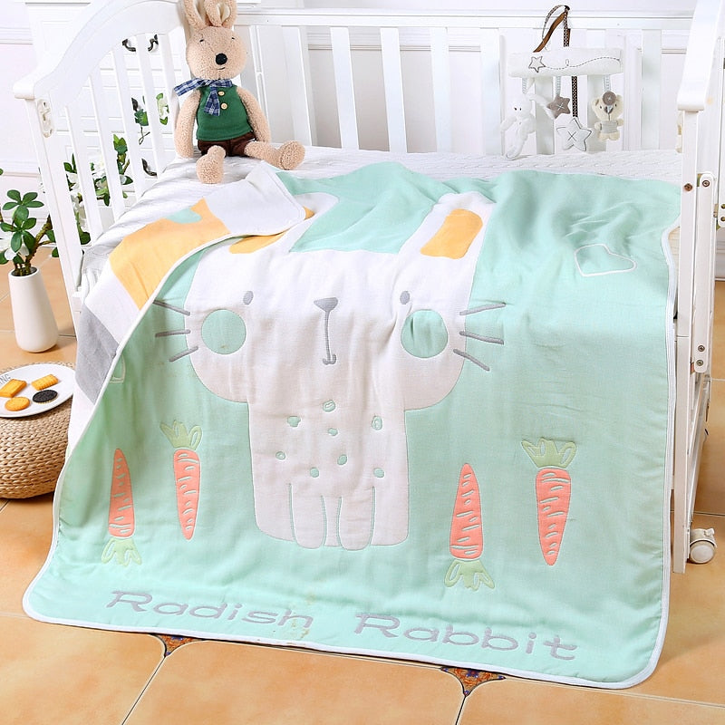 Six Layers Muslin Cotton Blanket - Radish Rabbit - Just Kidding Store