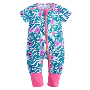 Pink Flowers Summer Baby Kids Trendy Fashion Romper Just Kidding Store