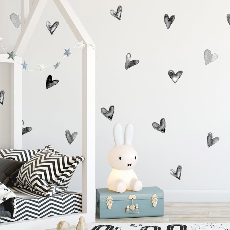 Watercolor Black Irregular Hearts Wall Decal Stickers - Just Kidding Store