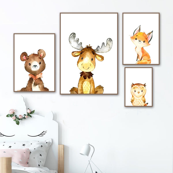 Woodland Animals Canvas Paintings - Rabbit, Fox, Deer, Bear, Owl, Raccoon - Just Kidding Store