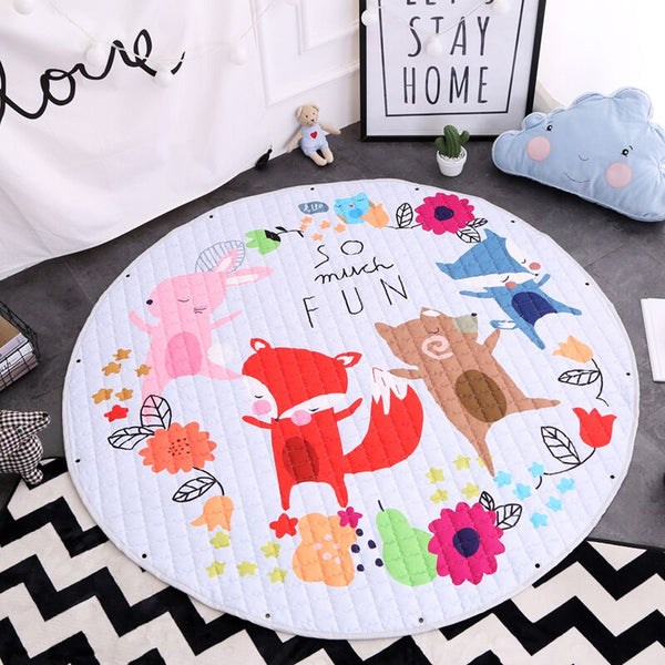 Kids Activity Play Mat - Toy Storage Bag - Fox Family - Just Kidding Store