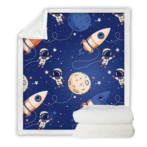 Outer Space Spaceman Astronaut Soft Sherpa Blanket - Just Kidding Store