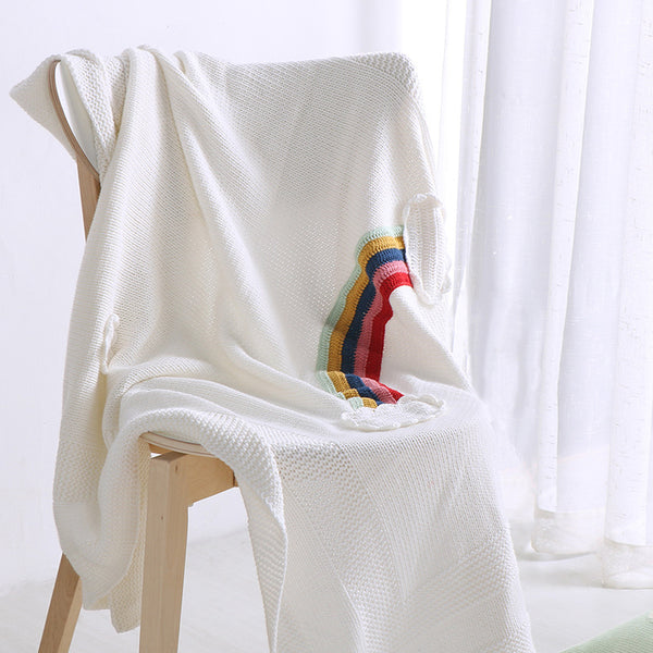Handmade Soft Cotton Kids Blanket - Rainbow - Just Kidding Store