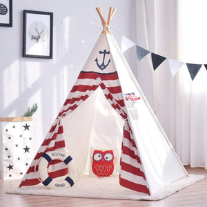 Red Stripes Teepee - Kids Play Tent - Just Kidding Store