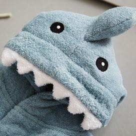 Baby Hooded Bathrobe - Terry Towel - Blue Shark