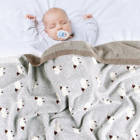Sheep Baby Kids Cotton Knitted Blanket - Just Kidding Store