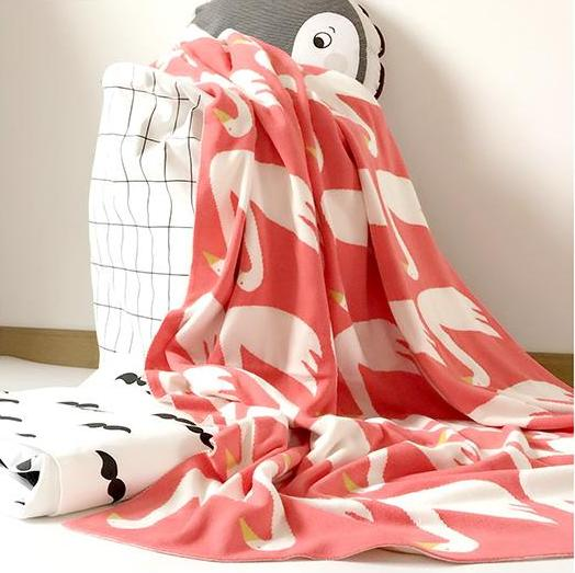 Pink Swan Cotton Knitted Kids Blanket - Just Kidding Store