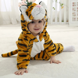 Baby Toddler Tiger Hooded Flannel Romper Jumpsuit - Just Kidding Store